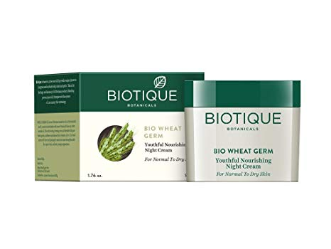 Biotique Wheat Germ Youthful Nourishing Night Cream - De-Tan & Remove Skin Pigmentation Instantly - Try these 14 Amazing Creams, Masks, Face Wash & Scrubs